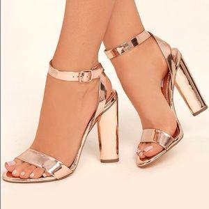 Steve Madden Treasure Rose Gold Ankle Strap Heels